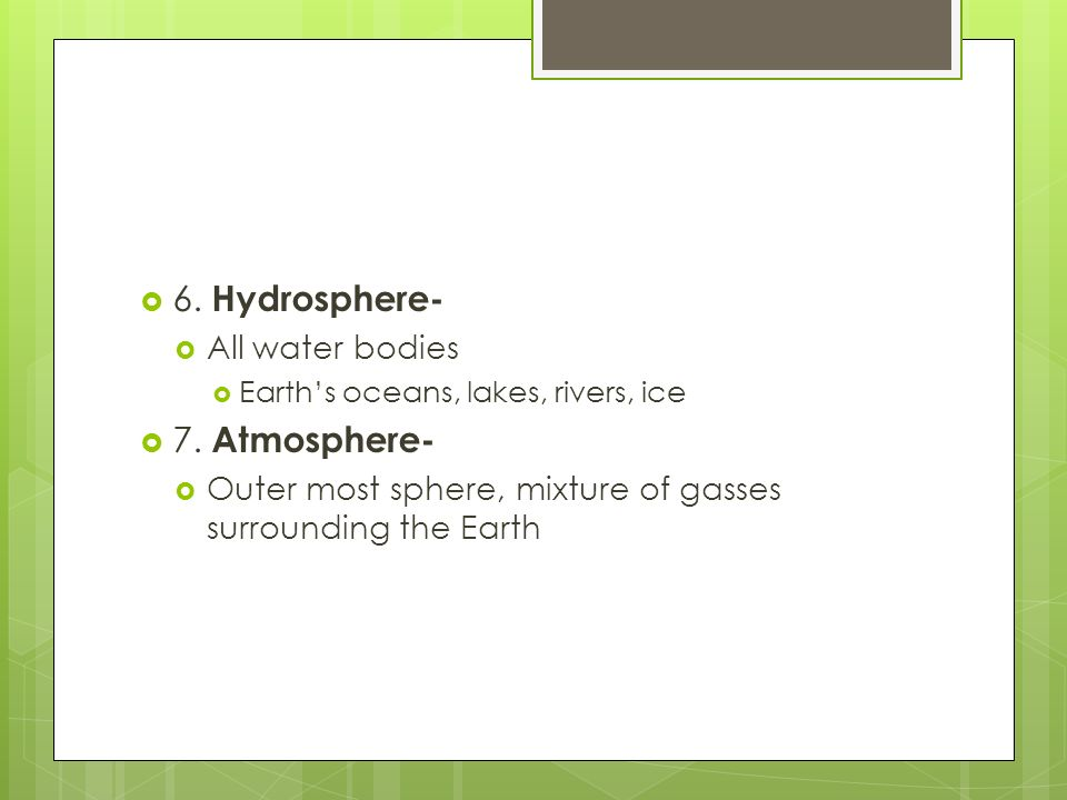 6. Hydrosphere- 7. Atmosphere- All water bodies