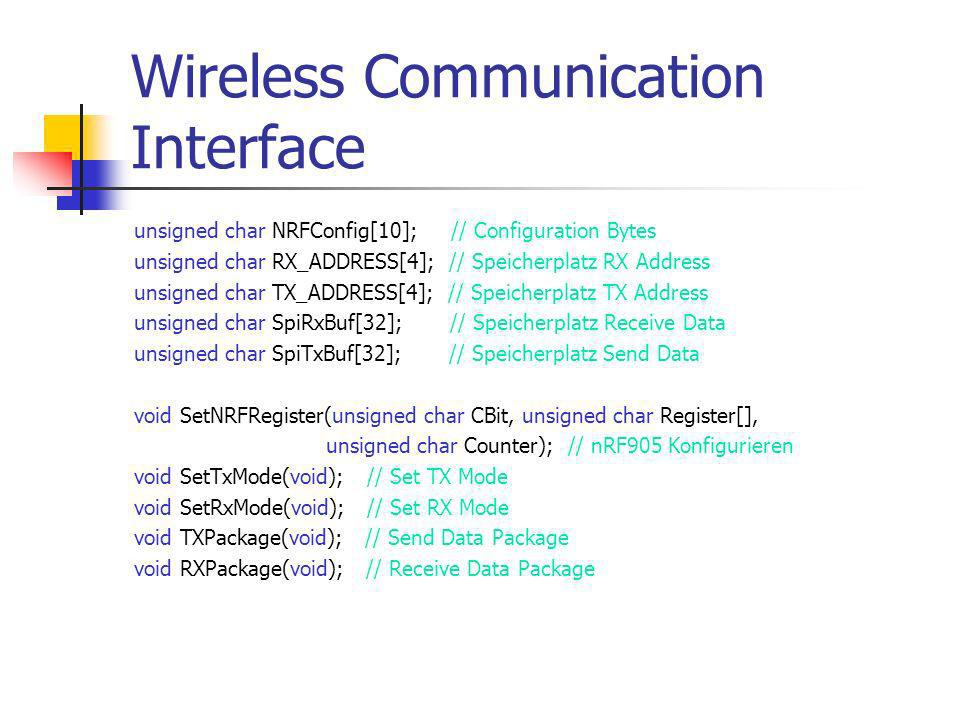Wireless Communication Interface