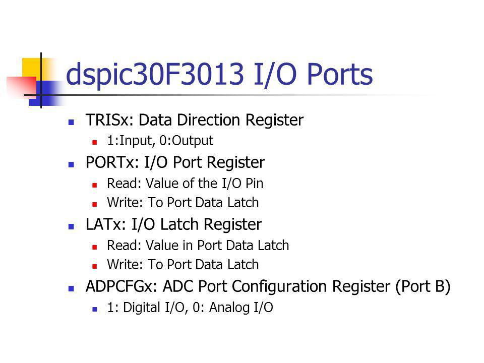 dspic30F3013 I/O Ports TRISx: Data Direction Register
