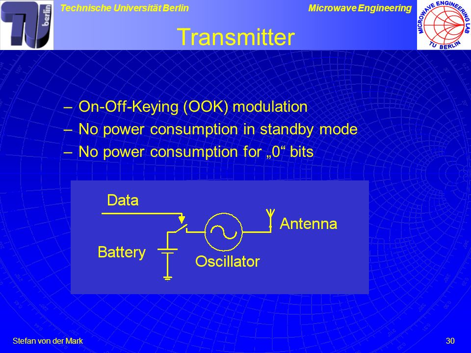 Transmitter On-Off-Keying (OOK) modulation