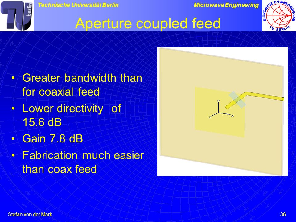 Aperture coupled feed Greater bandwidth than for coaxial feed