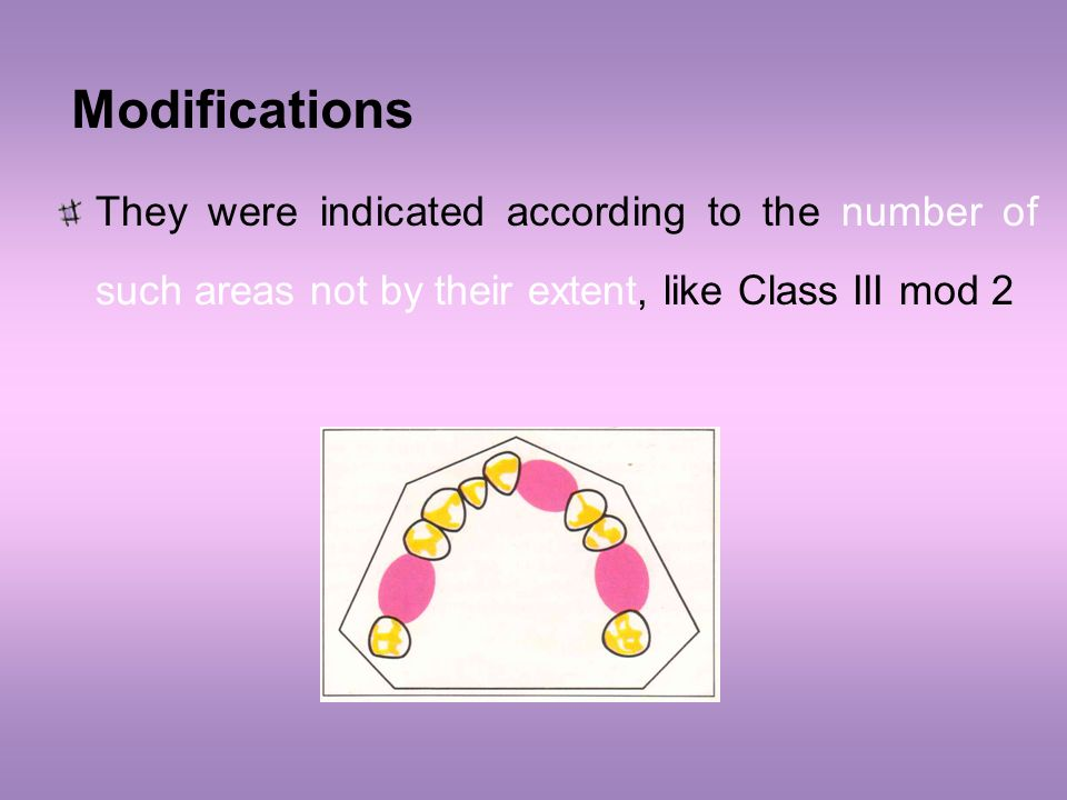 Modifications They were indicated according to the number of such areas not by their extent, like Class III mod 2.
