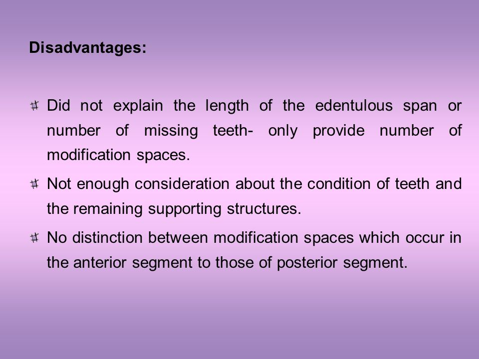 Disadvantages: Did not explain the length of the edentulous span or number of missing teeth- only provide number of modification spaces.