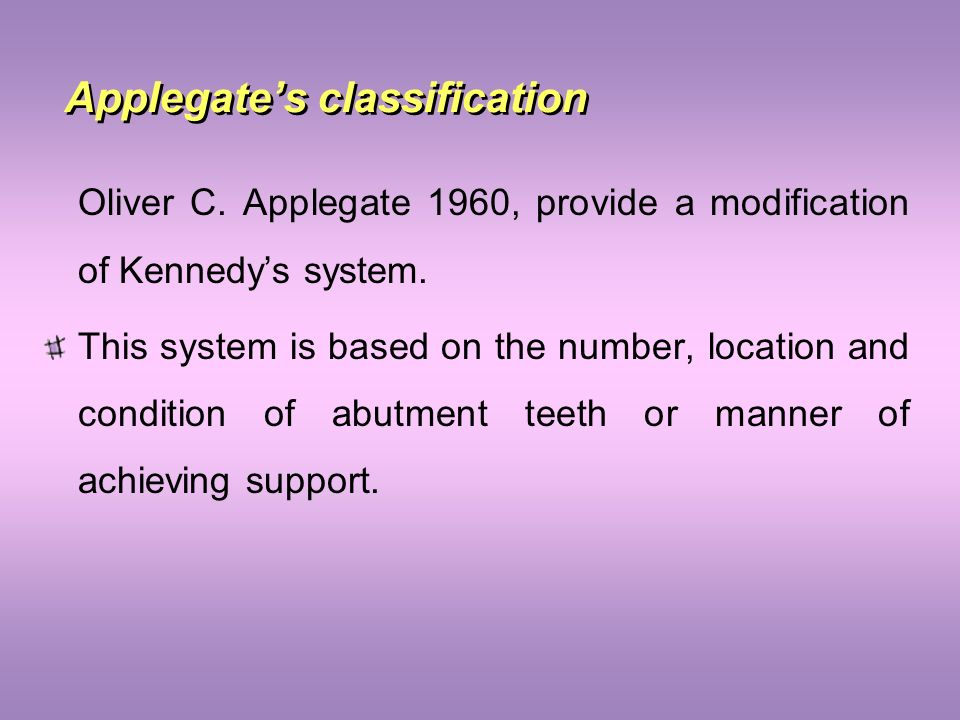 Applegate's classification