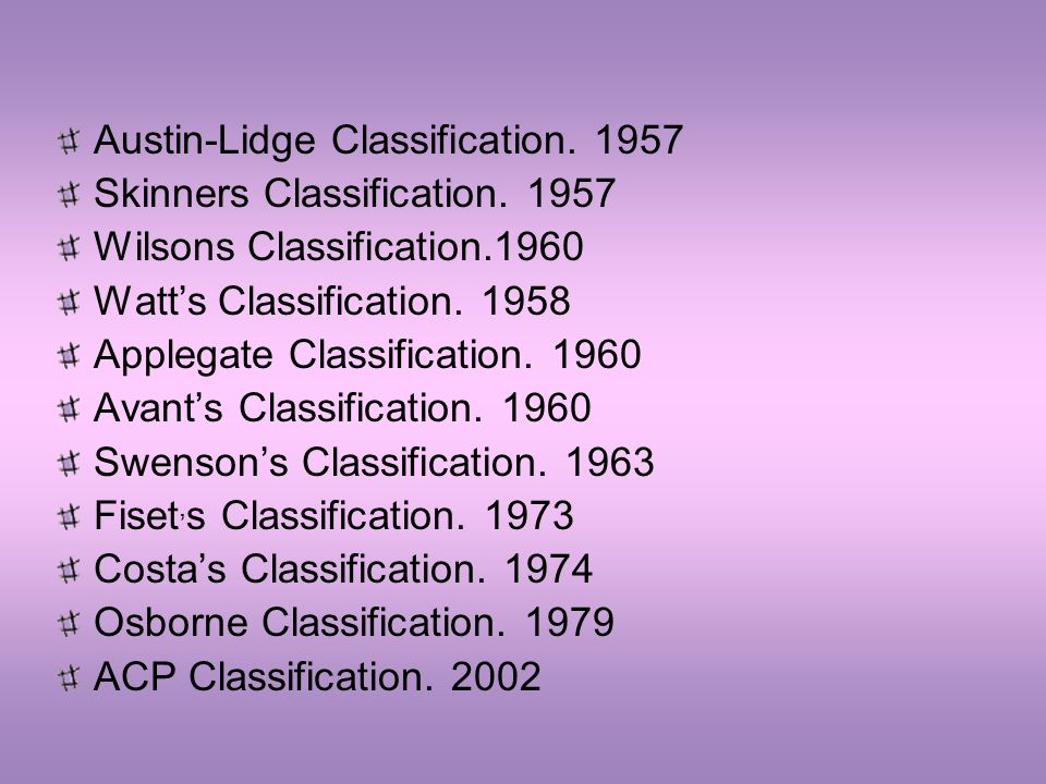 Austin-Lidge Classification. 1957