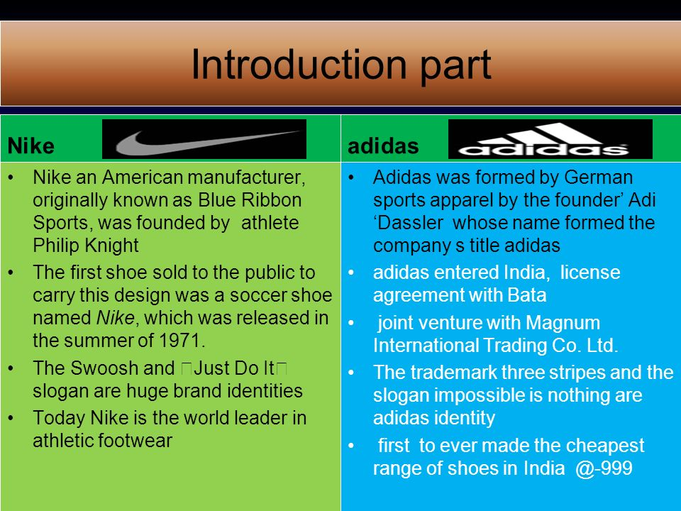 introduction to nike company Read the latest nike, inc news and press releases, search for jobs, find stock information and learn about corporate responsibility.