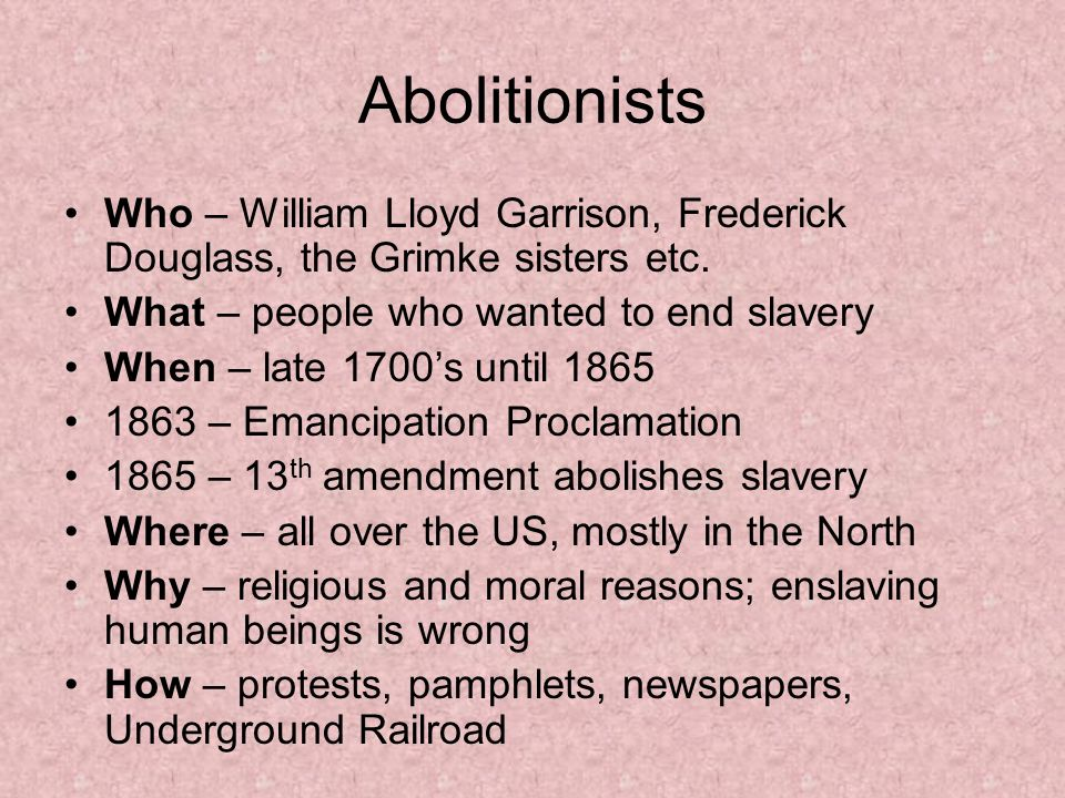 Reasons the north abolished slavery
