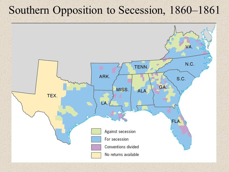 Crisis Of Union The S Events From The Decade Leading Up To - Secession map of us 1860
