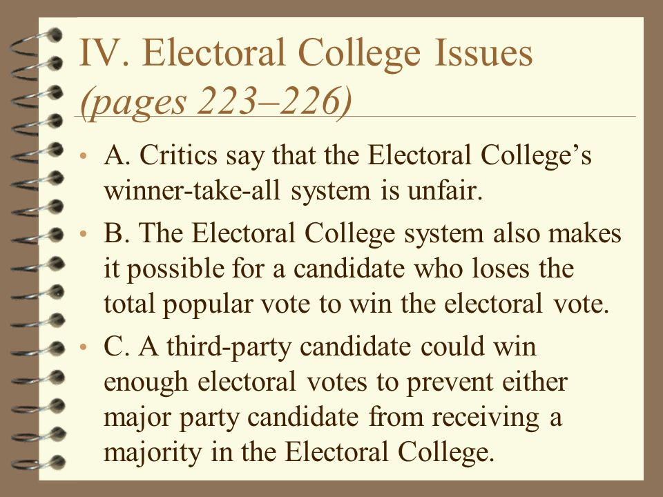criticisms of the electoral college The pro's and con's of the electoral college been a number of critics and wyoming carried the same voting strength in the electoral college (21 electoral.
