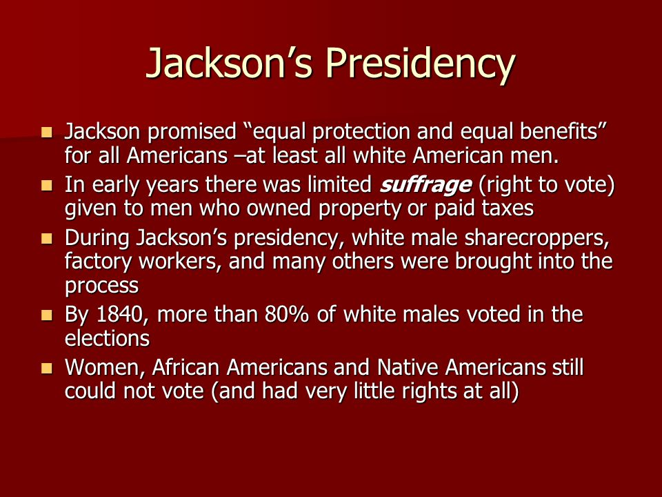 andrew jackson equal protection and equal If it would confine itself to equal protection, and, as heaven does it rains, shower its favors alike on the high and the low, the rich and the poor, it would be an unqualified blessing 10th july, 1832.