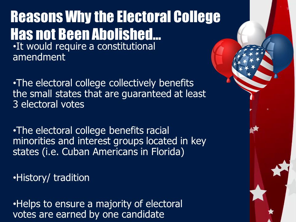 abolishing the electoral college The official us electoral college web site public opinion polls have shown americans favored abolishing it by majorities of 58 percent in 1967.