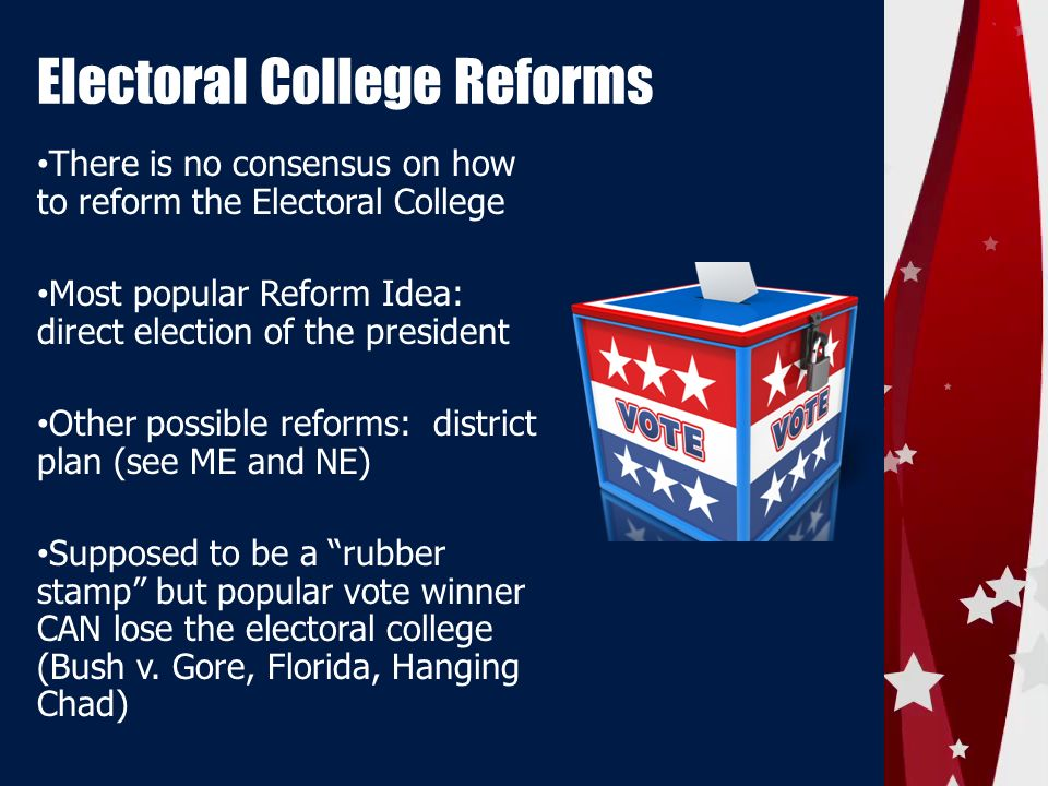 """electoral college reform essays The electoral college is supposed to make the system of voting fair and representative of all the people in the nation, but it fails to do that job in his novel, election reform, alan marzilli stated, """"despite the passage of voter rights laws, many people feel that these laws on the books do not do enough to protect the rights of every ."""