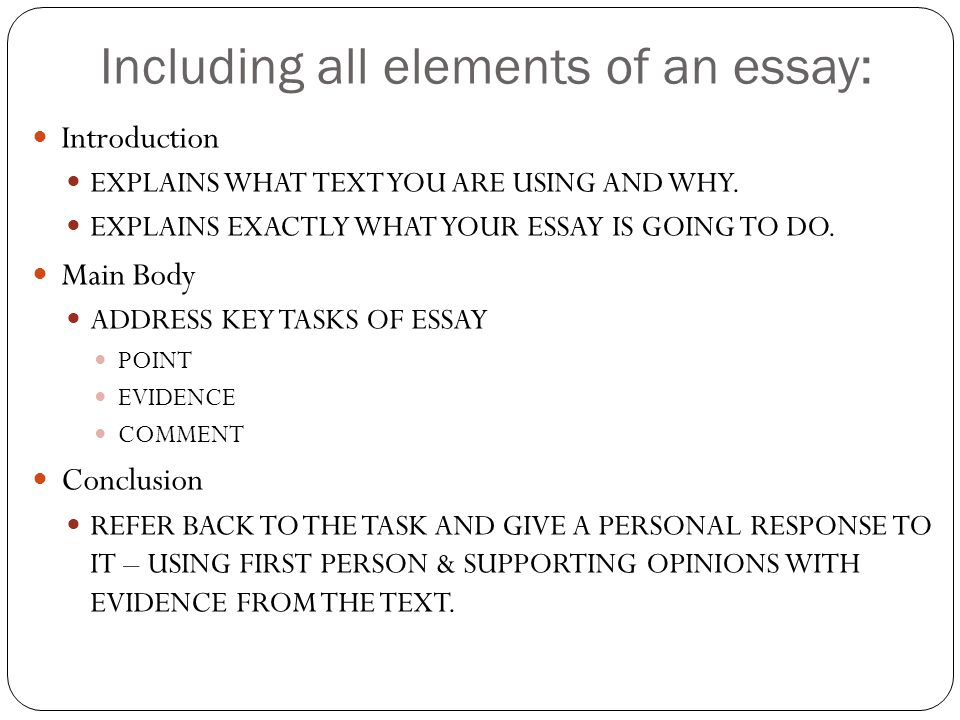 Elements of Essay Writing