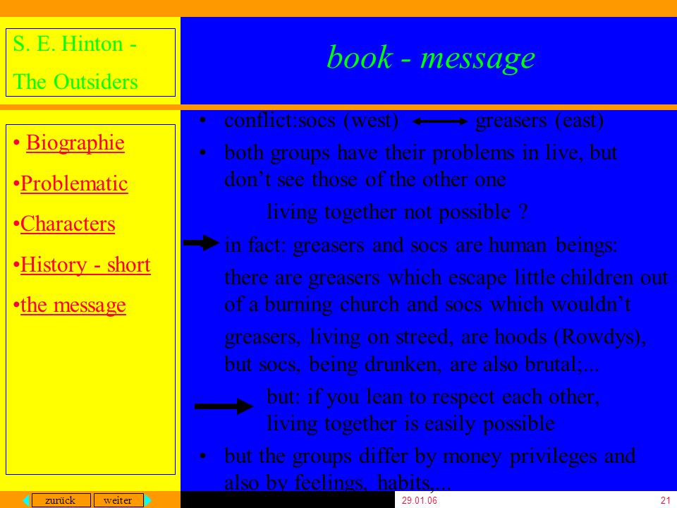 book - message conflict:socs (west) greasers (east)