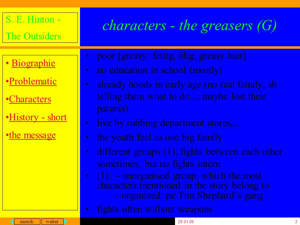 characters - the greasers (G)
