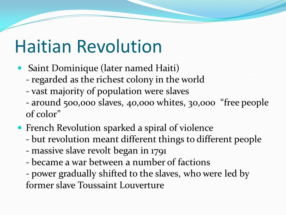 haitian revolution 2 essay The haitian revolution and the american revolution were similar and different in haitian & american independence compare/contrast essay sample get full essay.
