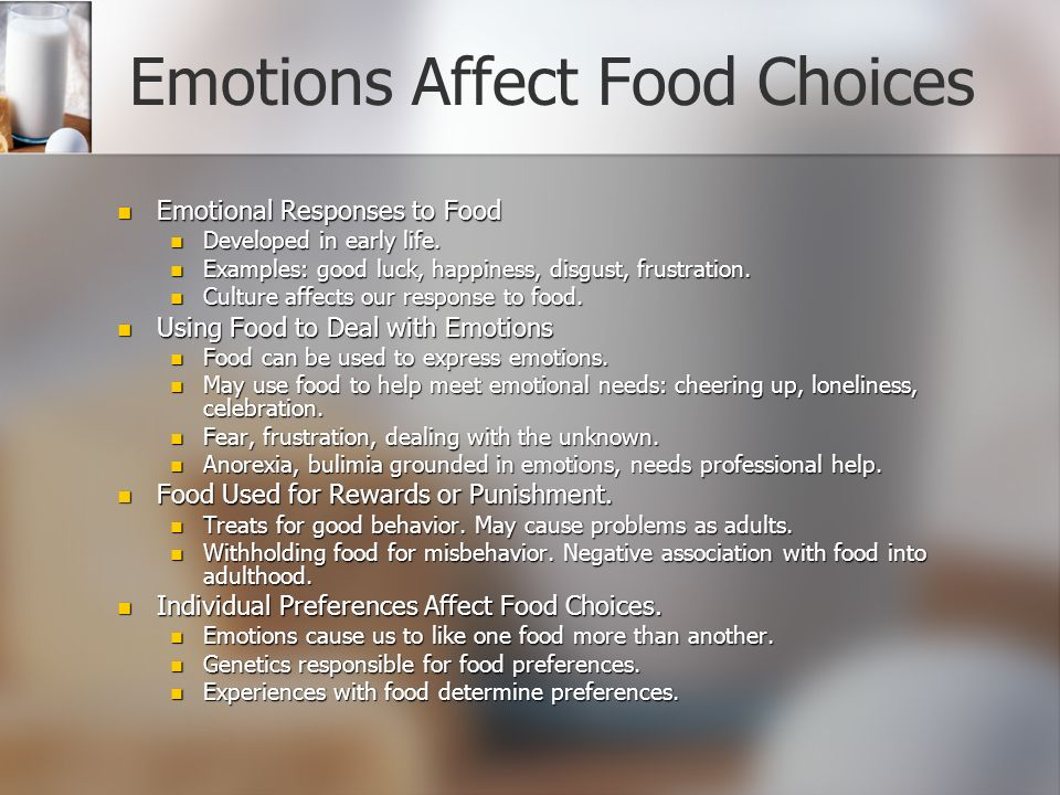 the factors that influence food choices Past research indicates that sensory appeal, healthiness, convenience, and price  tend to be the most important factors that influence food choice [1] - [4].