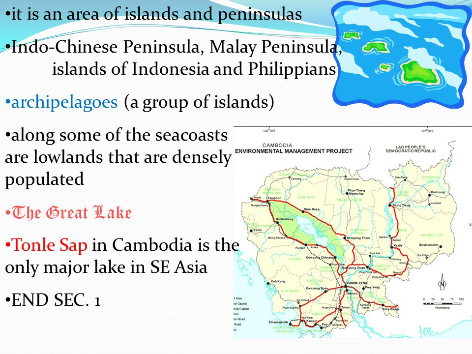 it is an area of islands and peninsulas