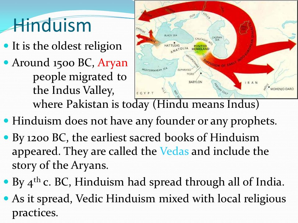 Hinduism It is the oldest religion