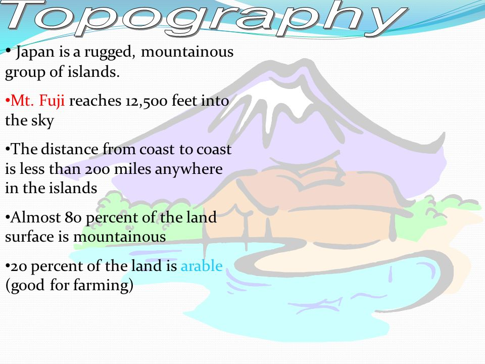 Topography Japan is a rugged, mountainous group of islands.
