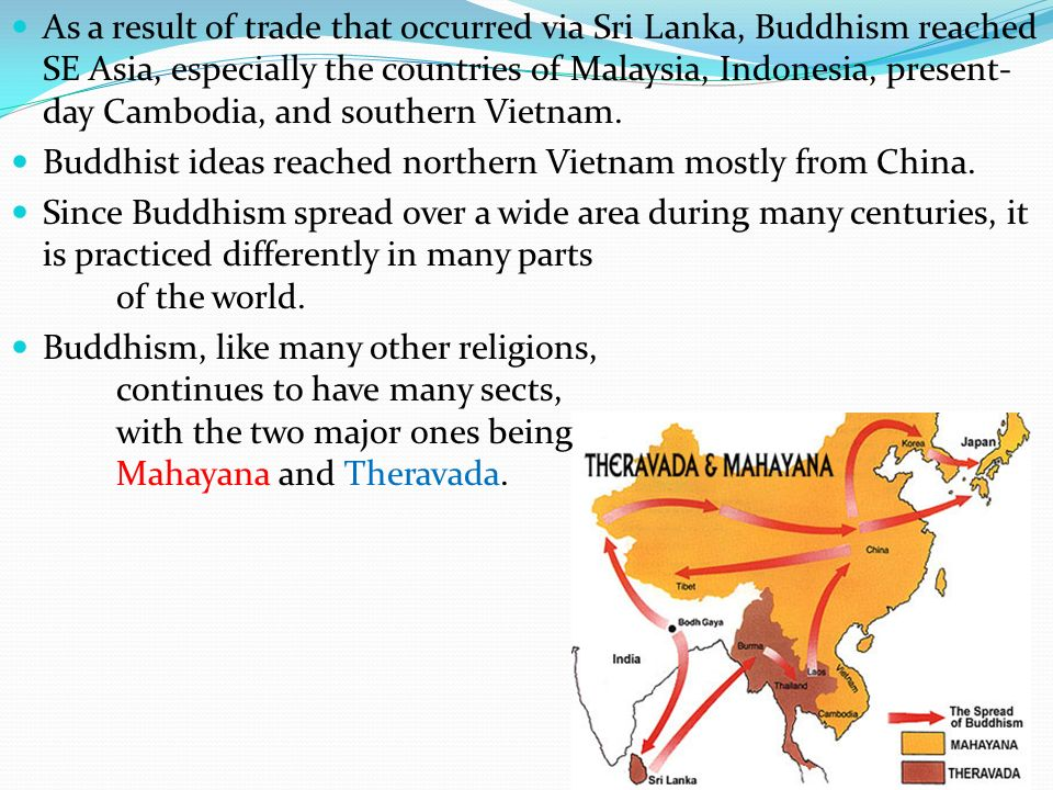 As a result of trade that occurred via Sri Lanka, Buddhism reached SE Asia, especially the countries of Malaysia, Indonesia, present-day Cambodia, and southern Vietnam.