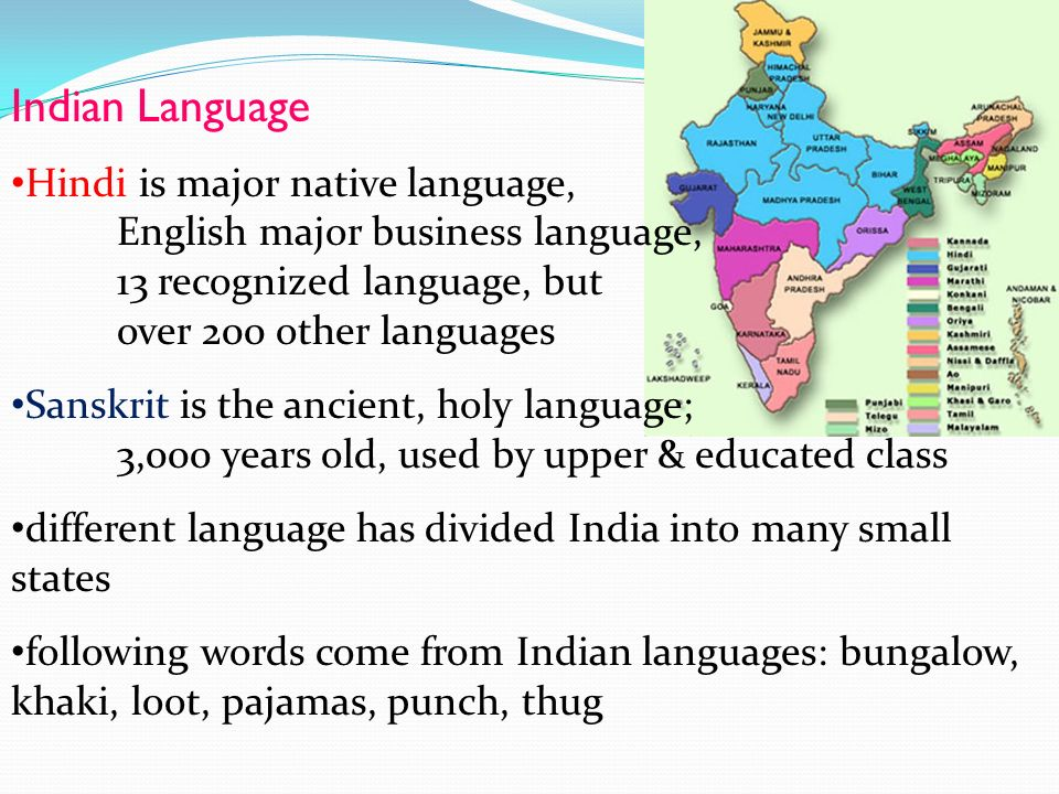 Indian Language Hindi is major native language, English major business language, 13 recognized language, but over 200 other languages.