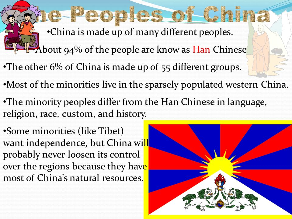The Peoples of China China is made up of many different peoples.