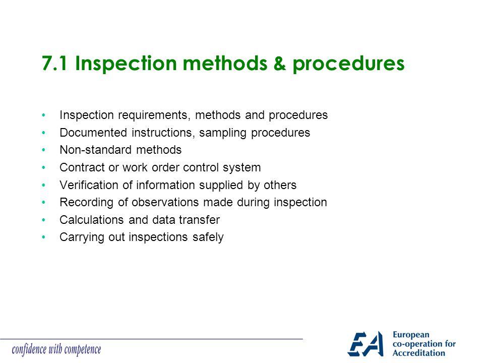 7.1 Inspection methods & procedures