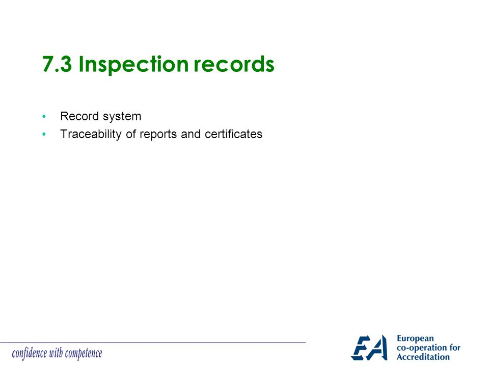 7.3 Inspection records Record system