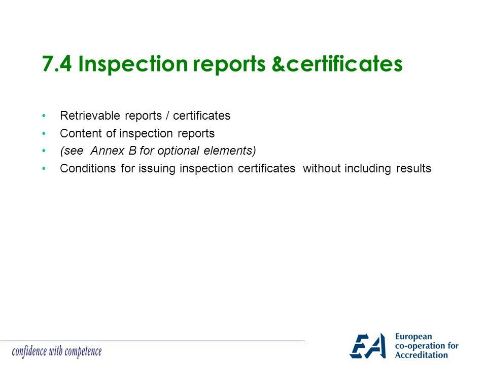 7.4 Inspection reports &certificates