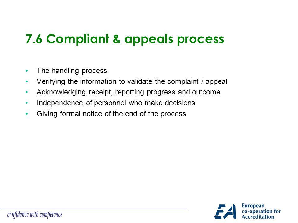 7.6 Compliant & appeals process