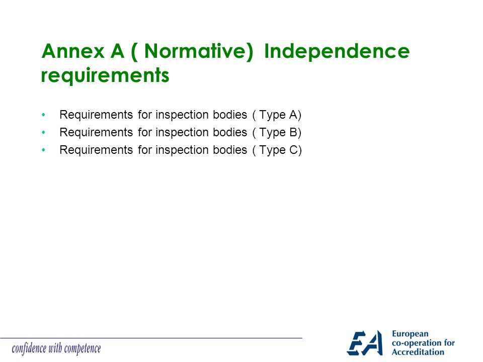 Annex A ( Normative) Independence requirements