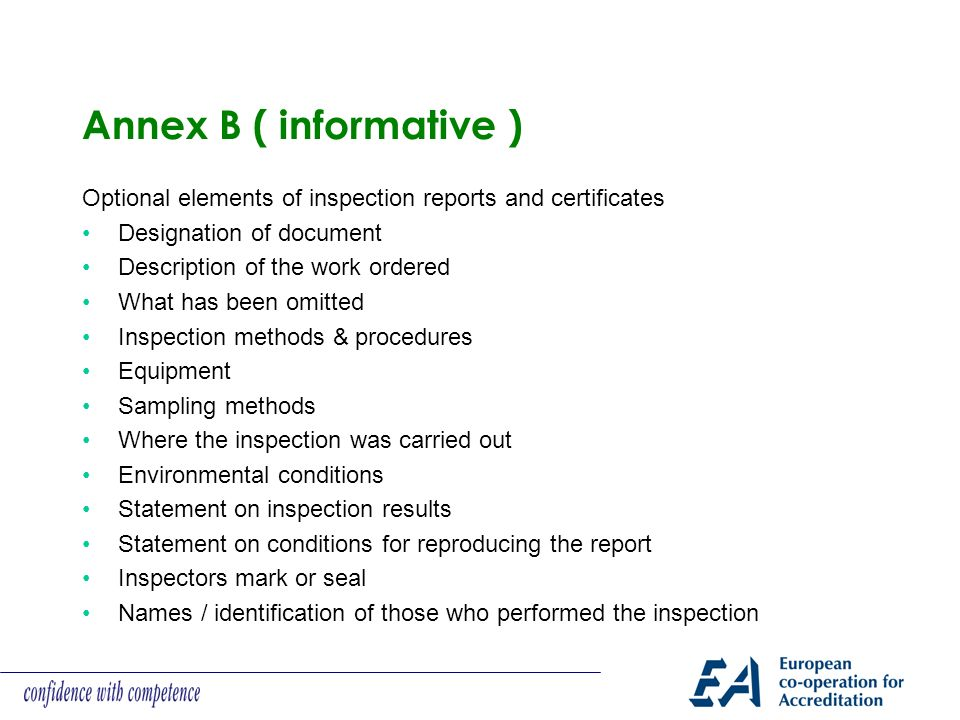 Annex B ( informative ) Optional elements of inspection reports and certificates. Designation of document.