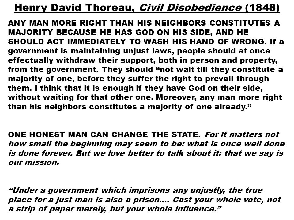 Civil disobedience influence