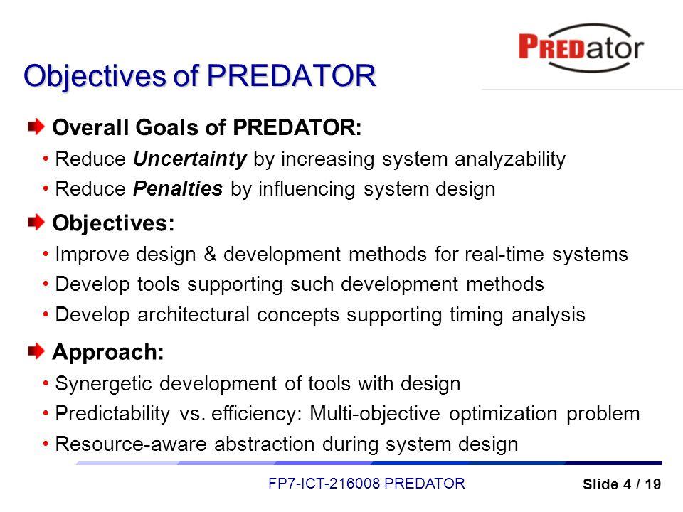 Objectives of PREDATOR