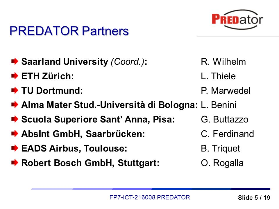 PREDATOR Partners Saarland University (Coord.): R. Wilhelm