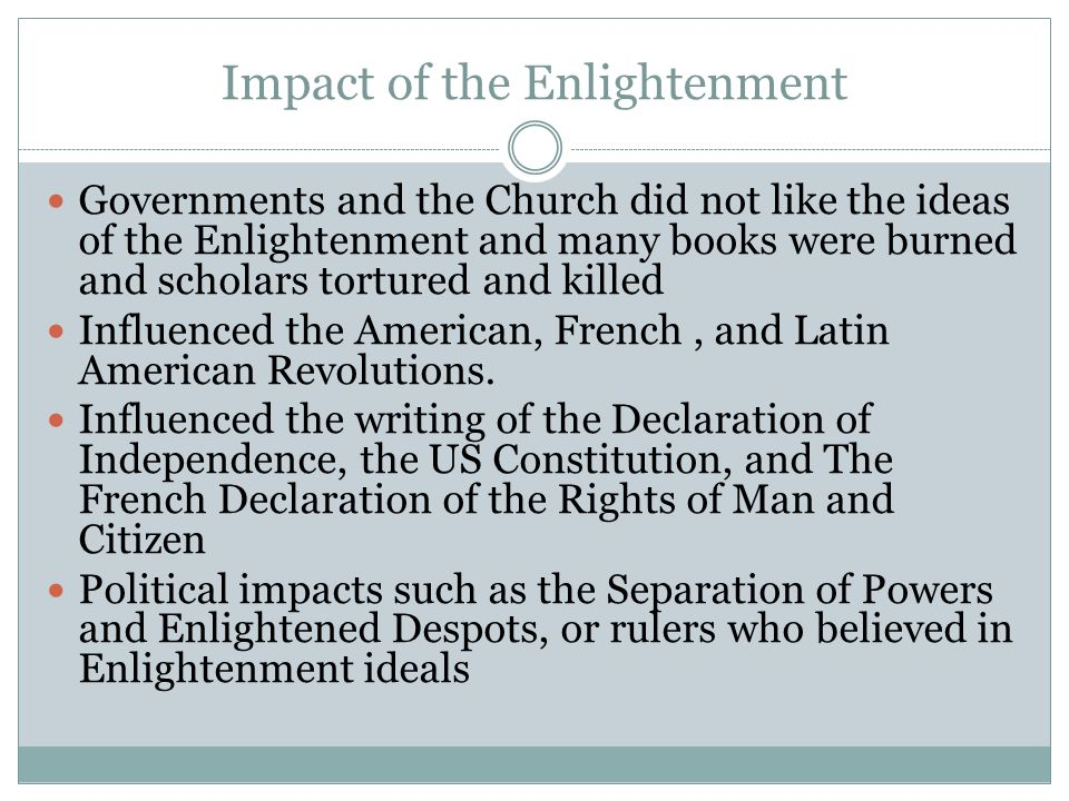 the impact of the enlightenment era on the french revolution Science and the enlightenment (part i) home and end it with the french revolution of 1789 the age of enlightenment was characterized by optimism.