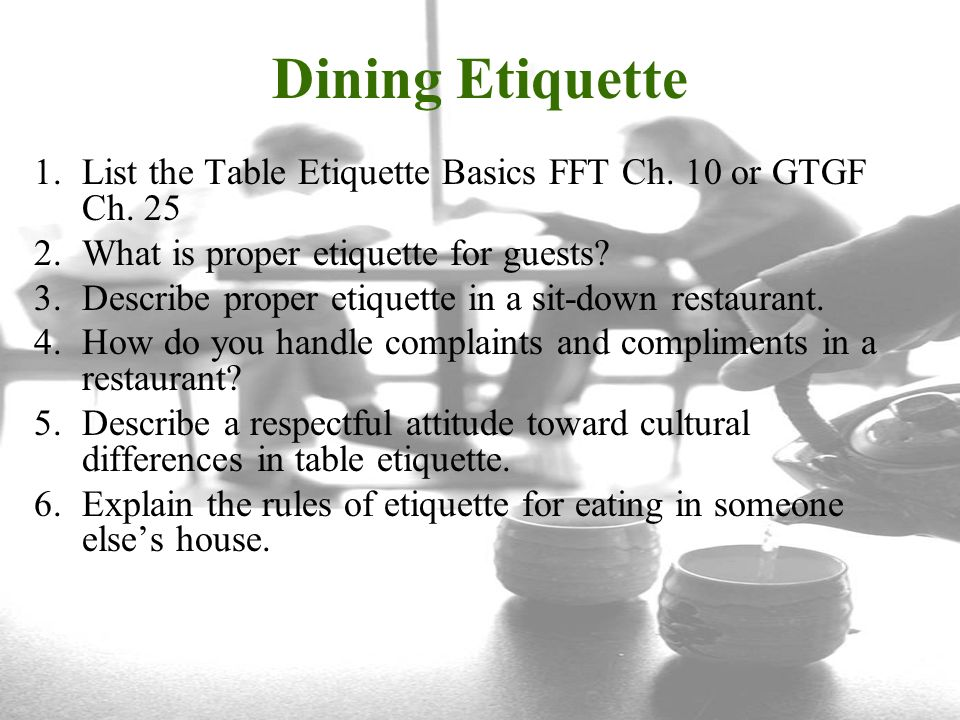 1 Dining Etiquette List The Table