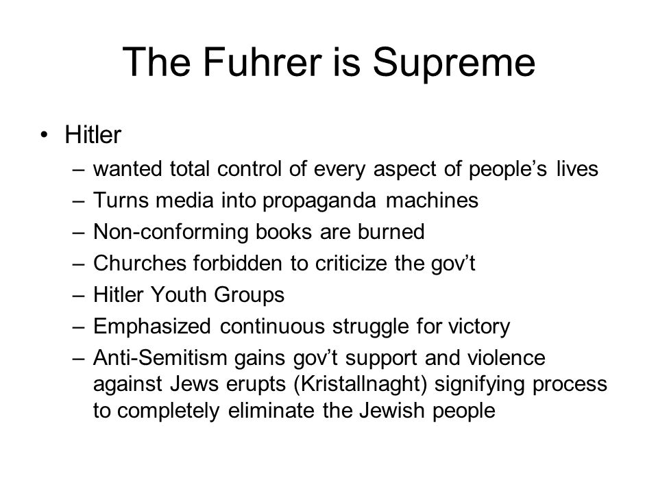 The Fuhrer is Supreme Hitler