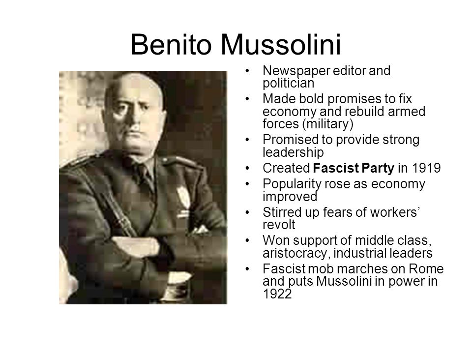 Benito Mussolini Newspaper editor and politician