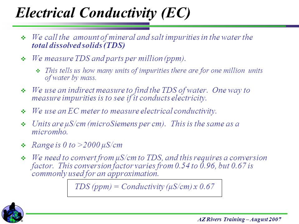 Conductivity Of Water : Temperature measured with a thermometer units are c ppt