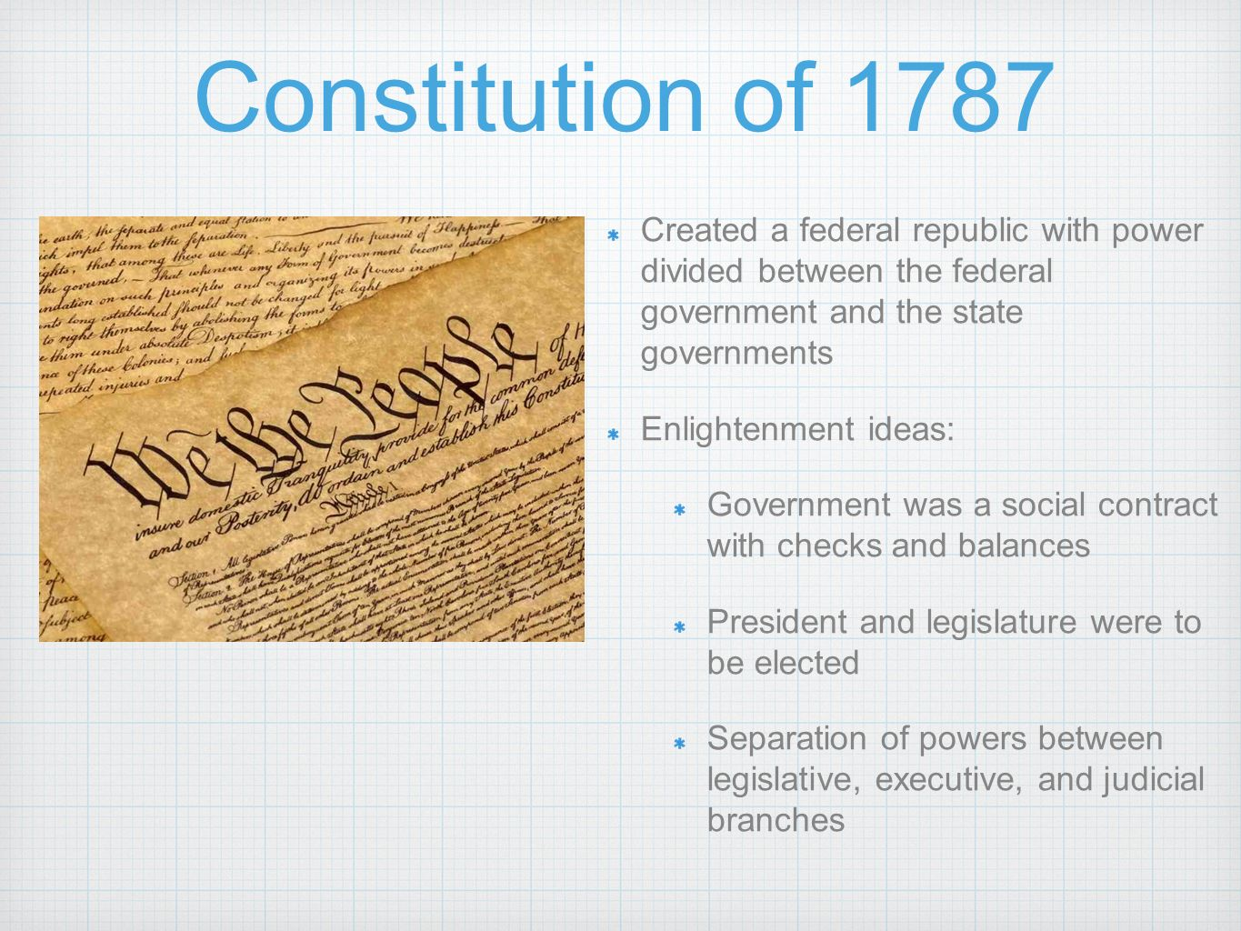 the changes in national government in america in 1787 The articles of confederation was the first written constitution of the united states the central government lacked the ability to levy taxes and regulate commerce, issues that led to the constitutional convention in 1787 for the creation of new and the growth of national feeling.