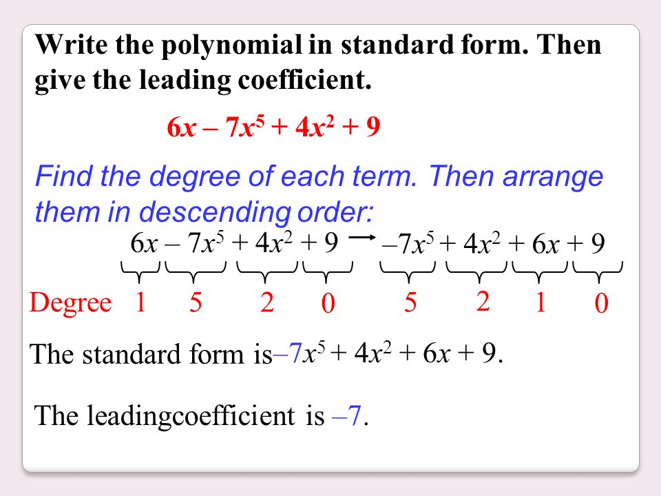 Write The Polynomial In Standard Form College Paper Academic