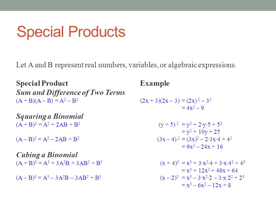 Special Products Let A and B represent real numbers, variables, or algebraic expressions. Special Product Example.