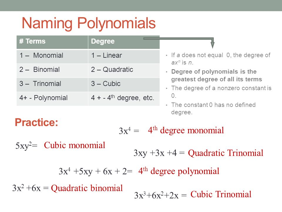Naming Polynomials Practice: 3x4 = 4th degree monomial 5xy2=
