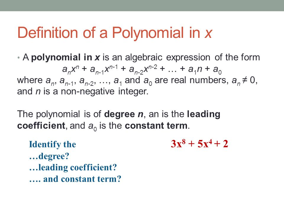 Definition of a Polynomial in x