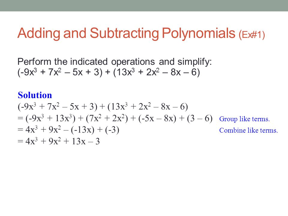 Adding and Subtracting Polynomials (Ex#1)