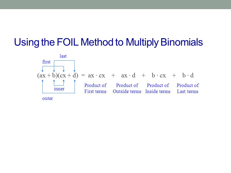 Using the FOIL Method to Multiply Binomials