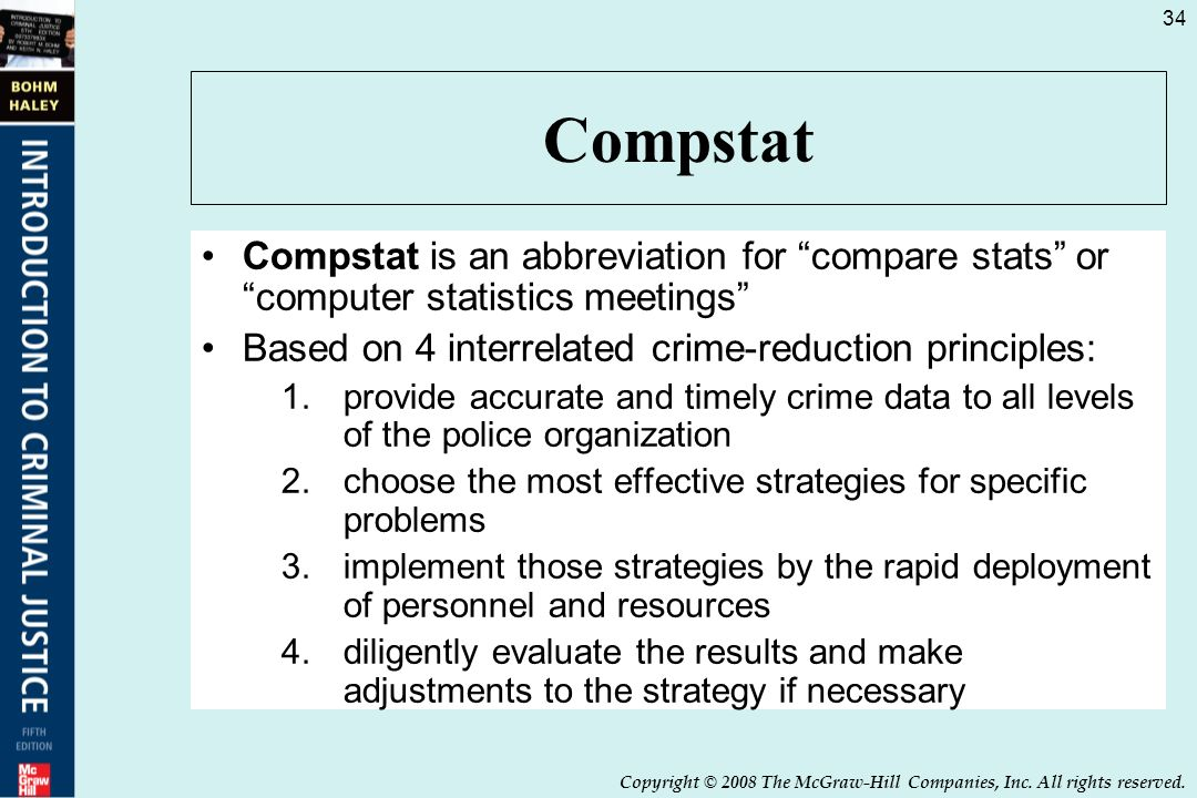 compstat law enforcement with predictive policing We rely on the police to keep us safe, to protect us from violence, and to safeguard our property we also accept that a certain level of crime is inevitable — it may be technically possible to eradicate crime, but the cost of a dystopian police state is too high as technology advances, though, the line that we.