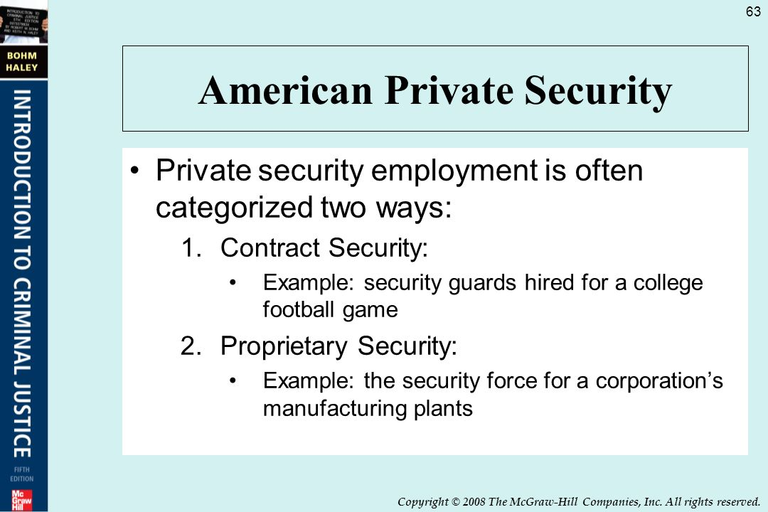proprietary versus contract security This chapter compares the advantages and disadvantages of employing career and noncareer personnel in the security  (proprietary) versus noncareer (and contract).
